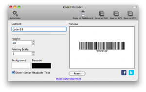 changing the height of code 39 barcode