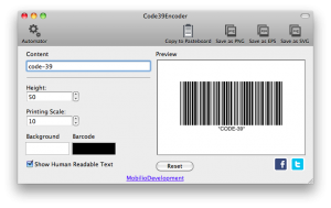 changing the printing scale of code 39 barcode