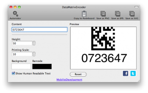changing the printing scale of data matrix barcode
