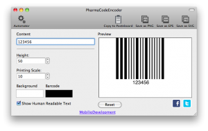 changing the printing scale of pharmacode barcode