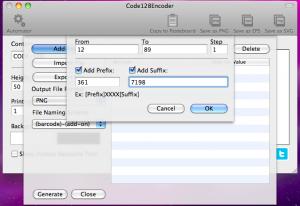 code128encoder automator adding range