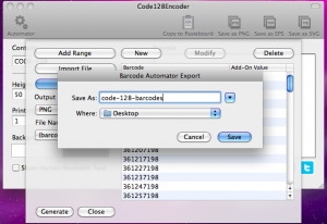 code128encoder automator exporting code 128 barcodes