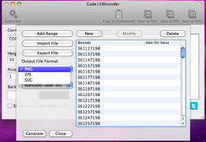 code128encoder automator output file format