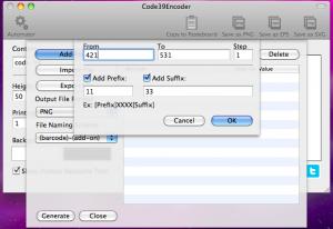 code39encoder automator adding range