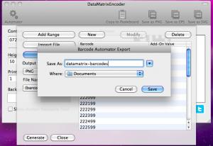 datamatrixencoder automator exporting barcodes