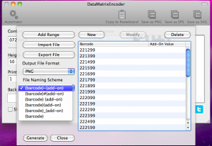 datamatrixencoder automator file naming scheme