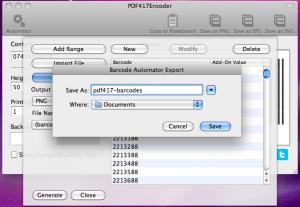 pdf417encoder exporting barcodes