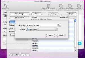 pharmacodeencoder automator exporting barcodes
