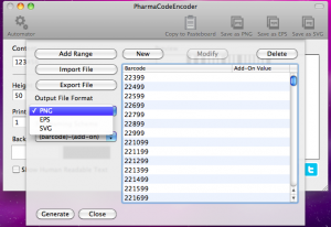 pharmacodeencoder automator output file format