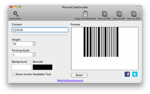 removing the human readable part from pharmacode barcode