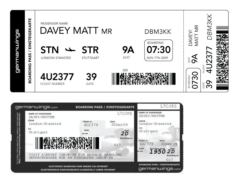 airplane barcode ticket