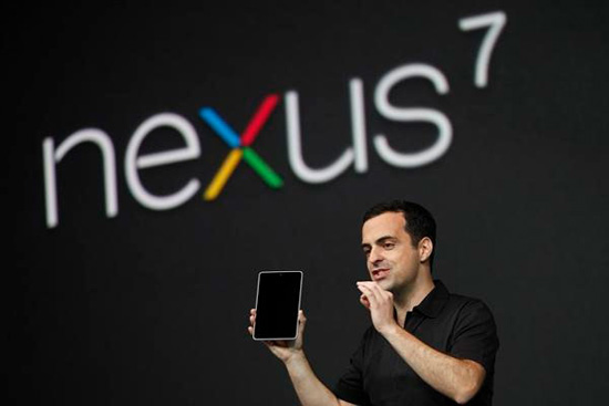 Hugo Barra representing the new Google Nexus 7 tablet