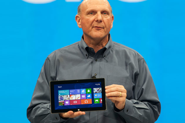 steve ballmer with the new microsoft surface tablet
