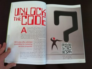 QR code in a printed media