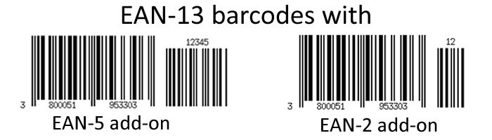 EAN barcode with different add-ons