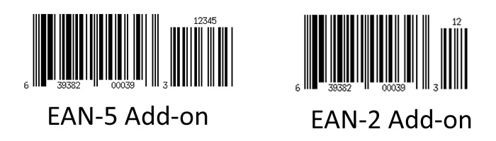 UPC barcode with different add-ons