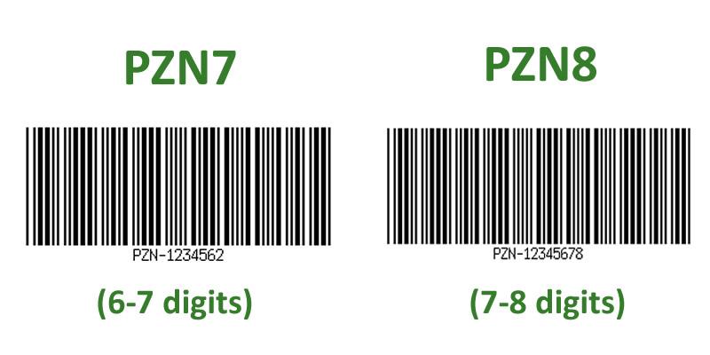 PZN barcodes PZN7 PZN8