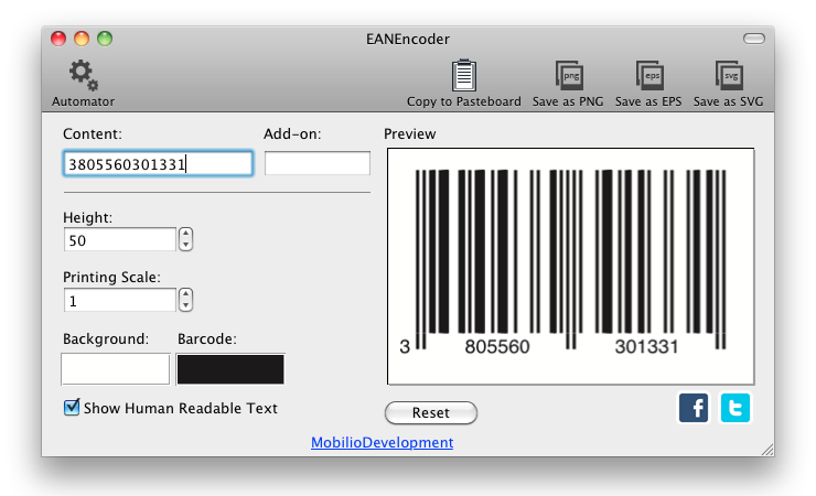 EANEncoder generating EAN barcode