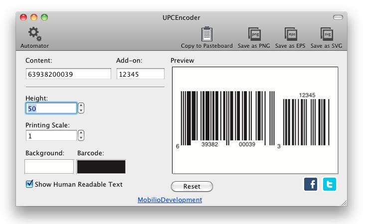 UPC barcode generator