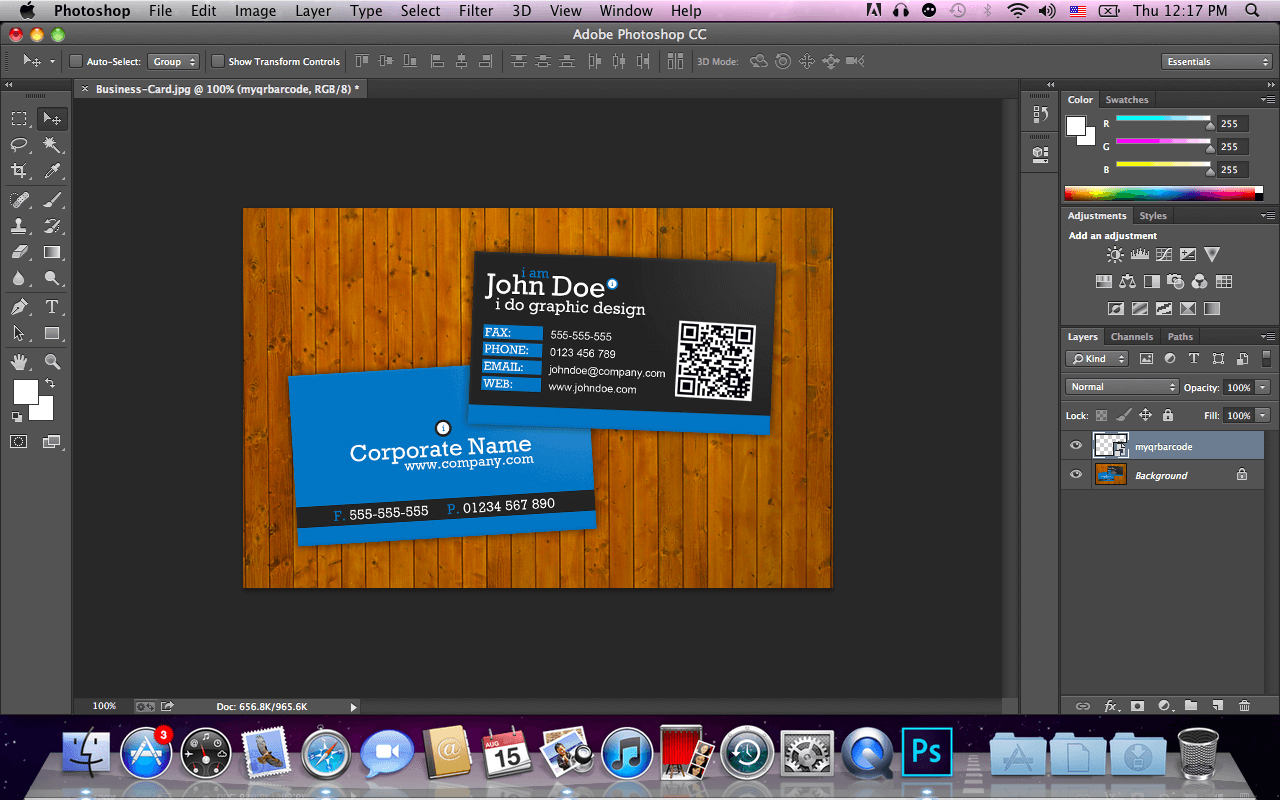 new business card with qr in photoshop