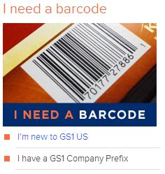 I need UPC barcodes from GS1 US